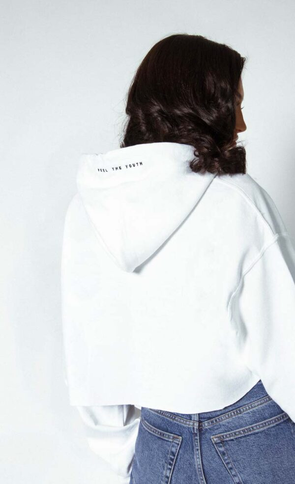 Ordinary copped hoodywhite 3 600x985 - Ordinary Cropped Hoodie
