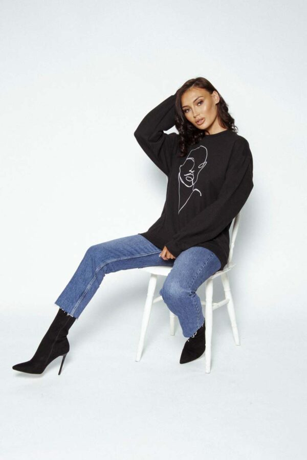 Black oversized =graphic sweater - Feel the youth collection
