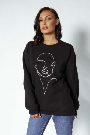 black profile sweater 4 300x450 - Profile Sweatshirt
