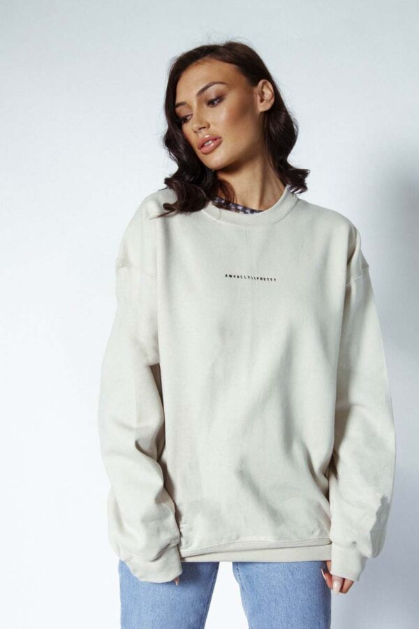 Awfully Pretty Logo sweater in sand - Let's start with the logo