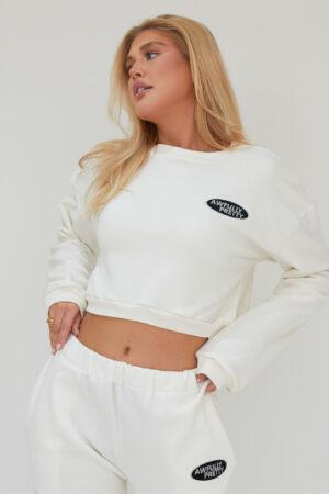 Awfully Pretty0012 300x450 - AP Oval Cropped Sweatshirt in Ecru