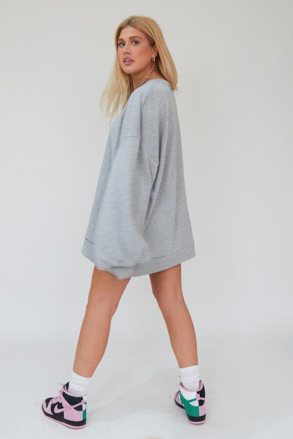 Awfully Pretty0022 2 600x900 - Oversized Jumper Dress in Grey