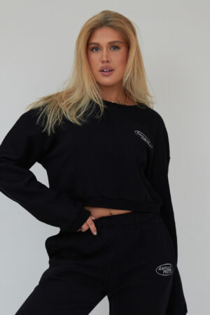 Awfully Pretty0036 1 300x450 - AP Oval Cropped Sweatshirt in Black