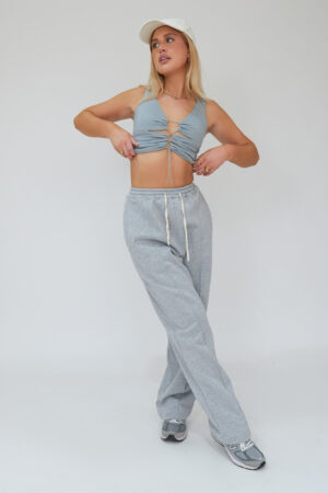 Awfully Pretty0063 2 300x450 - Pintuck Straight Joggers in Grey