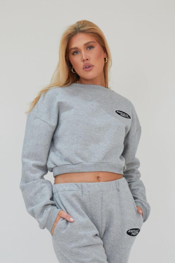 Awfully Pretty0101 600x900 - AP Oval Cropped Sweatshirt in Grey
