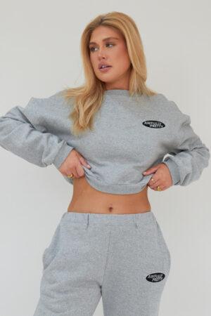 Awfully Pretty0125 300x450 - AP Oval Cropped Sweatshirt in Grey