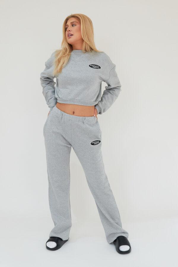 Awfully Pretty0129 600x900 - AP Oval Cropped Sweatshirt in Grey