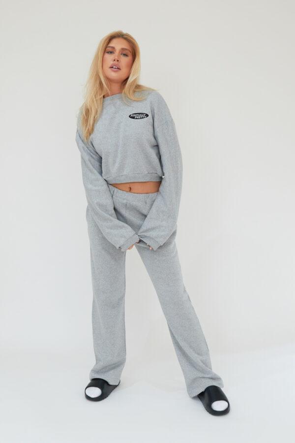 Awfully Pretty0140 600x900 - AP Oval Cropped Sweatshirt in Grey