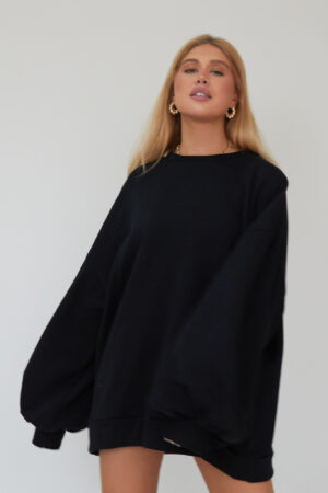 Awfully Pretty0208 1 300x450 - Oversized Jumper Dress in Black