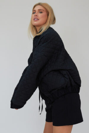 Awfully Pretty0271 1 300x450 - Quilted Bomber Jacket in Black