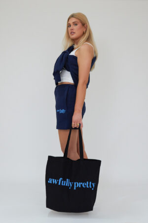 Awfully Pretty0421 300x450 - AP Tote in Black/Blue